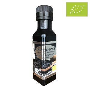 Bio-zwartzaadolie in kleur met tuit
